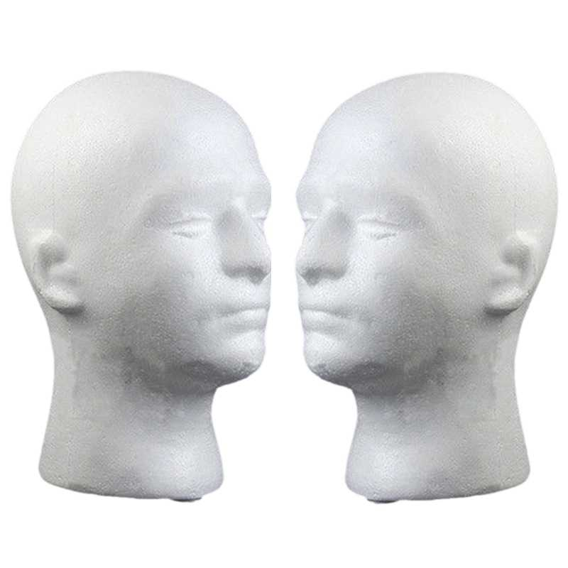 2Pcs/Lot Male Foam Mannequin Head Wig Glasses Hat Display Stand with Positioning Holes