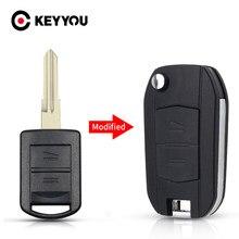 KEYYOU-funda de llave para coche, modificado para Vauxhall, Opel, Corsa C, Combo, Tigra, Meriva, Agila Fob, 2 botones, carcasa de llave a distancia de coche, abatible, sin cortar
