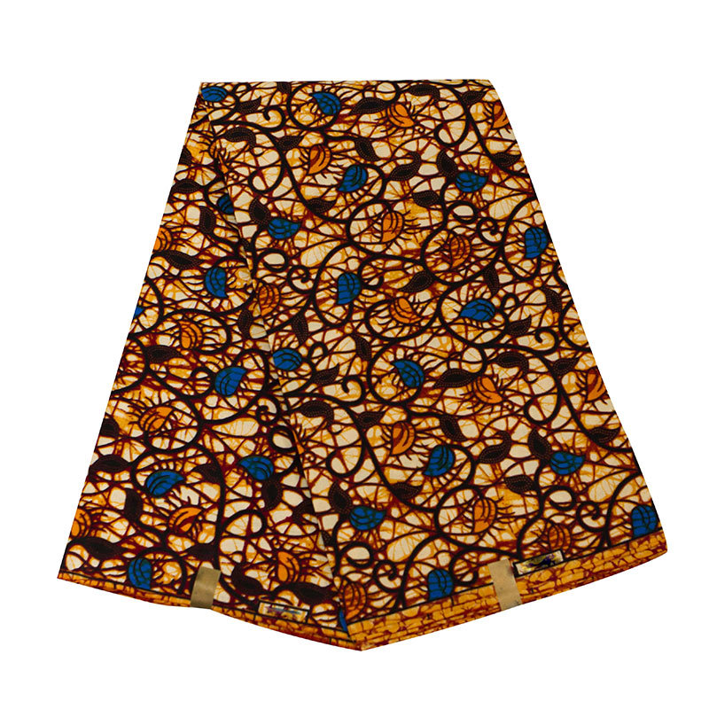 Brown Fashion Style African Ankara Wax Fabric Breathable Pure Polyester African Ankara Wax Fabric Material For Wedding Casual
