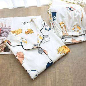 Image 3 - Ensemble pyjama à col rabattu pour femme, collection 2020, vêtements de maison femme, Style chat de dessin animé, frais, collection vêtements de nuit de Style, printemps décontracté