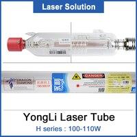 Yongli h4 co2 tubo do laser de vidro 1450mm 100 w lâmpada laser de vidro para co2 gravação a laser máquina corte