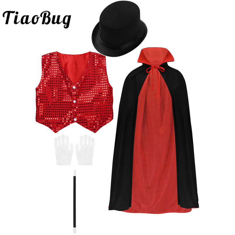 TiaoBug Kids Boys Halloween Magician Costume Cloak with Waistcoat Hat Magic Wand Gloves Sets Role Play Stage Performance Outfit