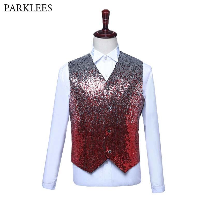 Mens Shiny Gradient Vest Glitter Sequin Waistcoat Men Fashion Nightclub Mens Suit Vest Wedding Prom Stage Chalecos Para Hombre