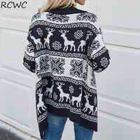 Suéter de invierno y otoño para mujer, chaqueta de estilo británico de Anime, vestido de Navidad, cárdigan de punto con patrón de ciervo, ropa para el hogar