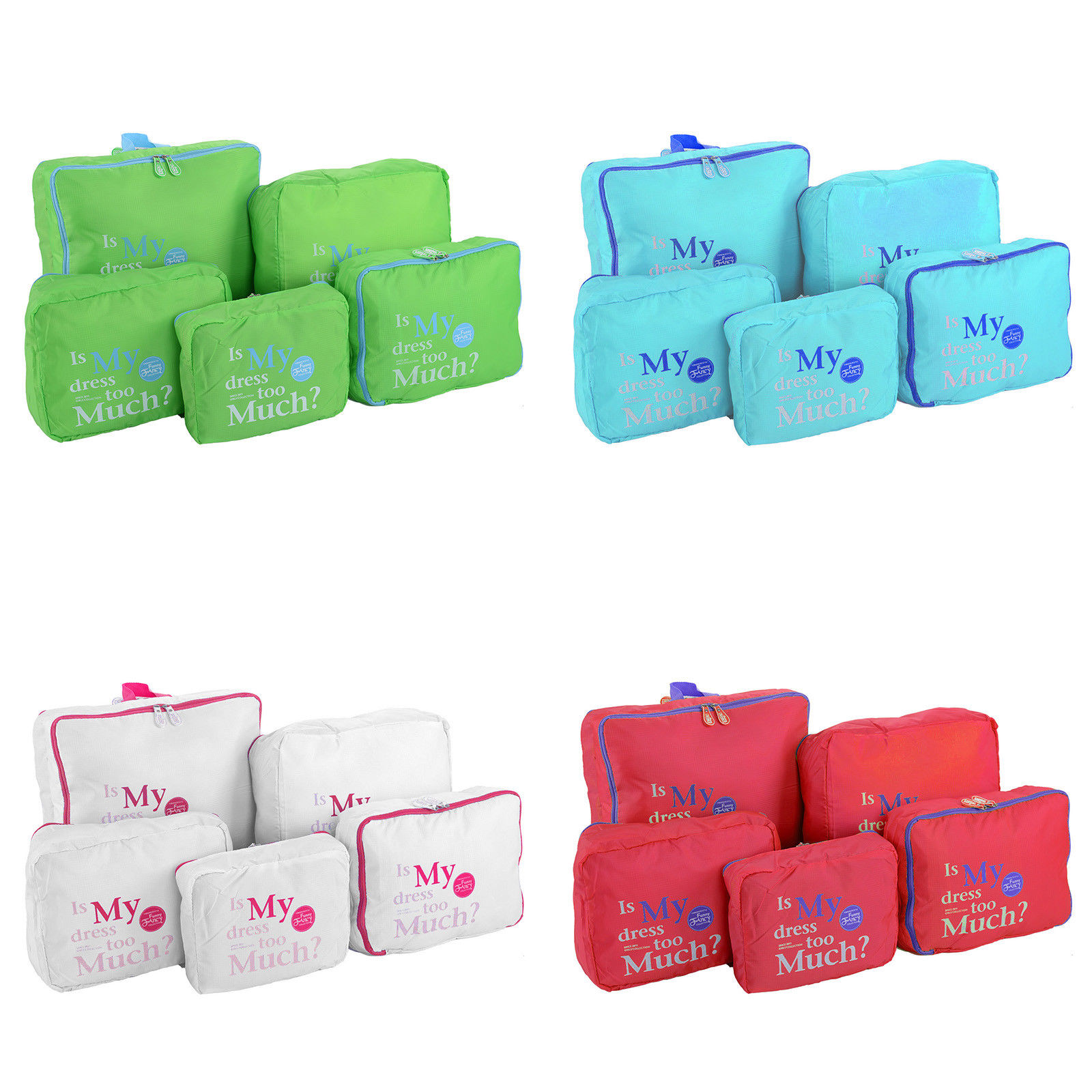 5Pcs Set Waterproof Travel Clothes Storage Bags Luggage Organizer Pouch Packing Storage Bags