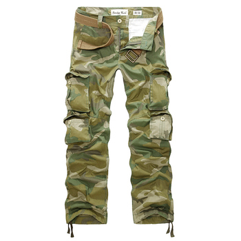 цена на Fashion Military Cargo Pants Mens Camo Tactical Pants Male Multi Pocket Army Green Camouflage Pants Casual Loose Cotton Trousers