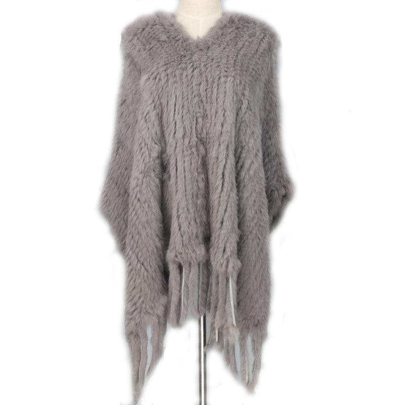 New Knit Rabbit Fur Poncho With Tassels Rabbit Fur Poncho Knit Coat Scarf Shawl