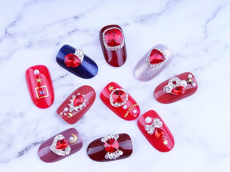 20 видов стилей 100 шт 3d Нейл арт горячий красный камень ногти