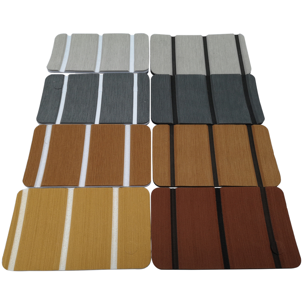 Sample Set Teak Decking For Boat Yacht EVA Marine Flooring Carpet With Adhesive Gule 6-8 PCS Gray And Brown Boat Accessories