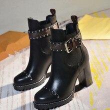 Г. Черные кожаные ботинки женские ботинки высокого качества с круглым носком на массивном каблуке со шнуровкой на платформе зимние короткие ботинки
