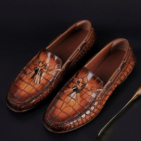 Men Leather Shoes Low Heel Fringe Shoes Dress Shoes Brogue Shoes Spring Ankle Boots Vintage Classic Male Casual F68