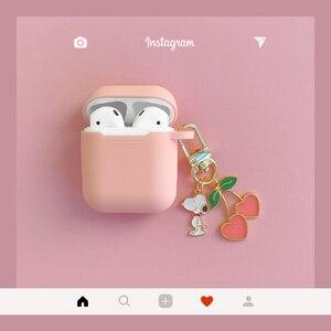 Image 1 - Leuke Koreaanse Siliconen Case Voor Apple Airpods Case Accessoires Bluetooth Oortelefoon Cartoon Beschermhoes Cherry Hond Sleutelhanger