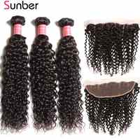 Sunber cheveux bouclés paquets avec frontale Remy cheveux humains armure brésilienne cheveux 3 paquets avec fermeture 13X4 fermeture frontale