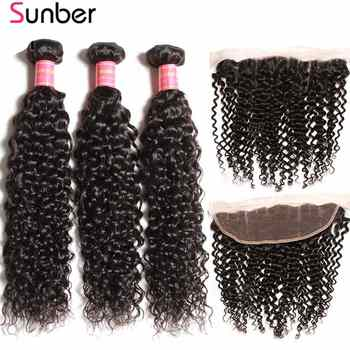 Sunber Curly Hair Bundles With Frontal Remy Human Hair Weave Brazilian Hair 3 Bundles With Closure 13X4 Frontal Closure - DISCOUNT ITEM  38% OFF All Category