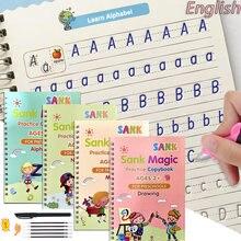 Autocollant d'écriture pour enfants, 4 livres + stylo de pratique magique, effacement gratuit, cahier anglais pour calligraphie, papeterie jouets Montessori