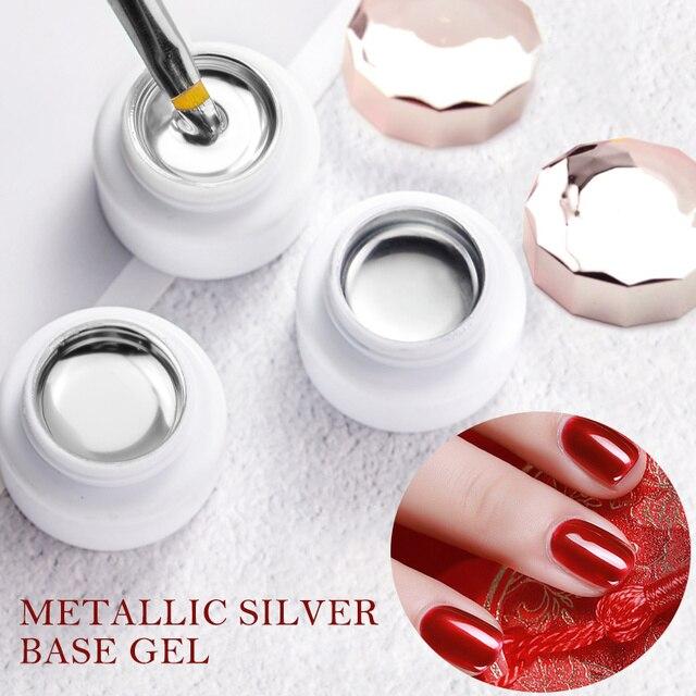 Sliver Gel Base Metal Effect Line Gel Soak Off Led Glass Transparent Colors Gel Polish 5g Cheap Nail Venalisa UV Gel 3