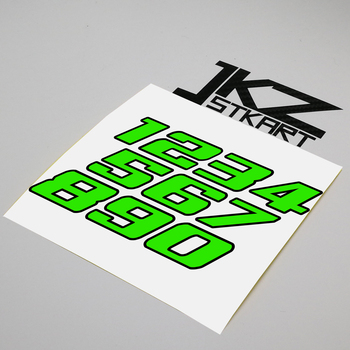 Decal Die Cut Double Layer Numbers Neon Fluorescent Green Sticker For Car Motorcycle ATV etc. Outdoor Decoration image