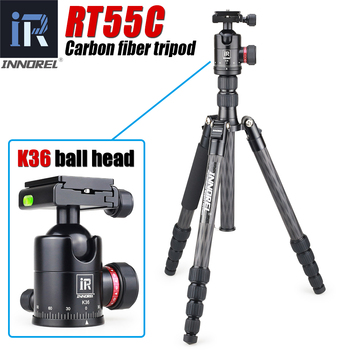 INNOREL RT55C Professional Carbon Fiber Tripod Travel Compact Camera Tripod Video Monopod with Ball Head & Quick Release Plate innorel rt30 professional aluminum alloy tripod monopod add ball head max height 197cm 77 6in for outdoor camera video recorder