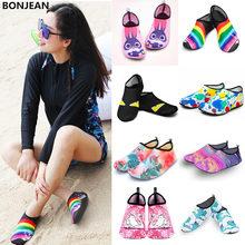 Мужская и Женская водонепроницаемая обувь для плавания с принтом носков; цветные летние пляжные кроссовки; носки; тапочки для мужчин и женщин