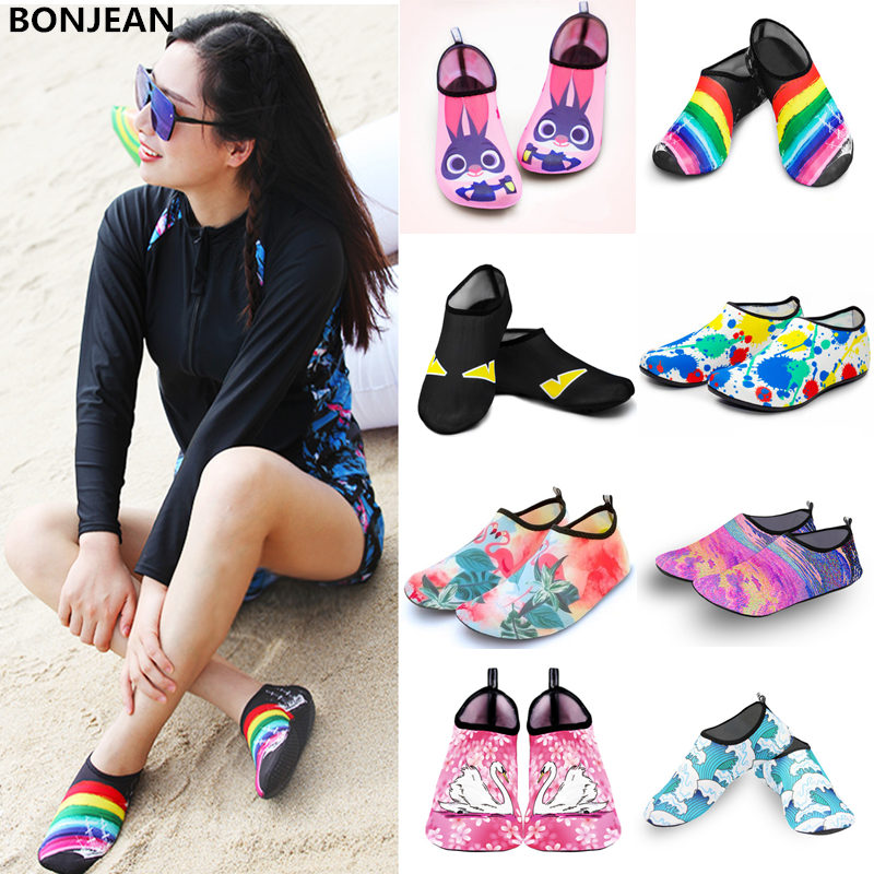 Men Women Water Shoes Swimming Socks Printing Color Summer Aqua Beach Sneakers Seaside Sneaker Socks Slippers For Men Women
