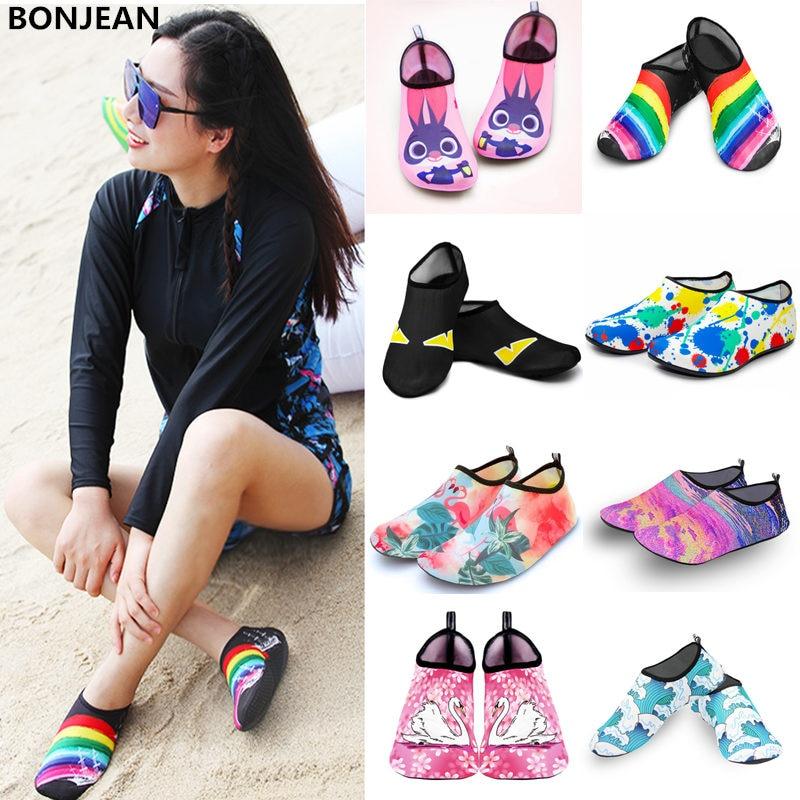 Men Women Water Shoes Swimming Socks Printing Color Summer Aqua Beach Sneakers Seaside Sneaker Socks Slippers For Men Women