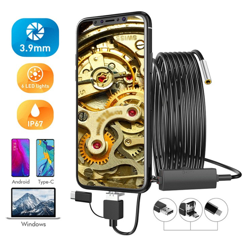3in1 3.9mm HD Endoscopes Waterproof Type-C USB Android Endoscope Industrial Tube Hose Endoscopes For IOS Windows Android Phone