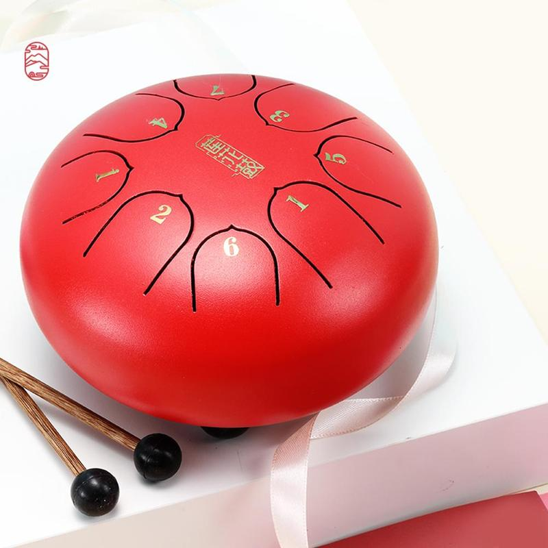 6 Inch C Key Steel Tongue Drum Percussion Instruments Mini 8-Tone Hand Pan Hanging Pan Drum with Drum Hammers carry bag
