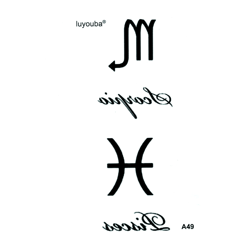 Pisces And Scorpio  Waterproof Temporary Tattoo Sticker Henna Tatoo Body Sticker Fake Tattoo The Flash Tatoo Tatuajes