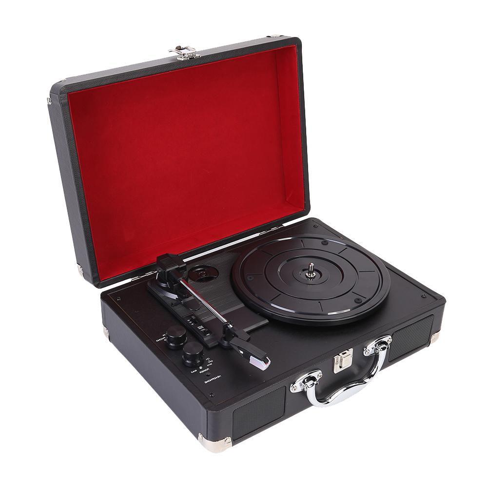 Turntable Stereo Bluetooth Phonograph Record Player PU Leather Wooden Box Vinyl Gramophone With Speaker