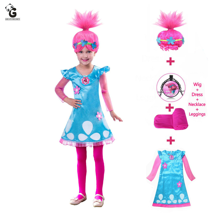 Kids Costumes Girls Dresses Trolls Poppy Costume Dress For Girls Halloween Costumes For Kids Carnaval Fancy Dress Girl Wig