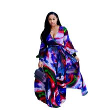 Women's Beach Chiffon Print Long Dress V-neck Long Sleeve Loose Skinny Dress Bohemian Casual Large Size Dress S-3XL-5XL(China)