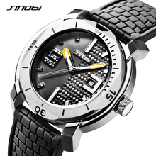 SINOBI High Quality Stainless Steel Mens Watches Hour Military Soft Silicone Strap Calendar Sport Waterproof Wrist Watch reloj