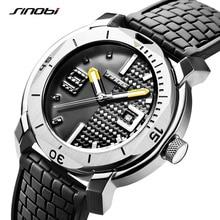 SINOBI גבוהה באיכות נירוסטה Mens שעונים שעה צבאי רך סיליקון רצועת לוח שנה ספורט עמיד למים שעון יד reloj