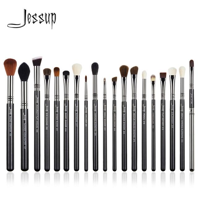 Jessup Juego de brochas de maquillaje, 19 Uds., negro/plateado, herramientas cosméticas, brocha de maquillaje, delineador de ojos, Lápiz corrector labial
