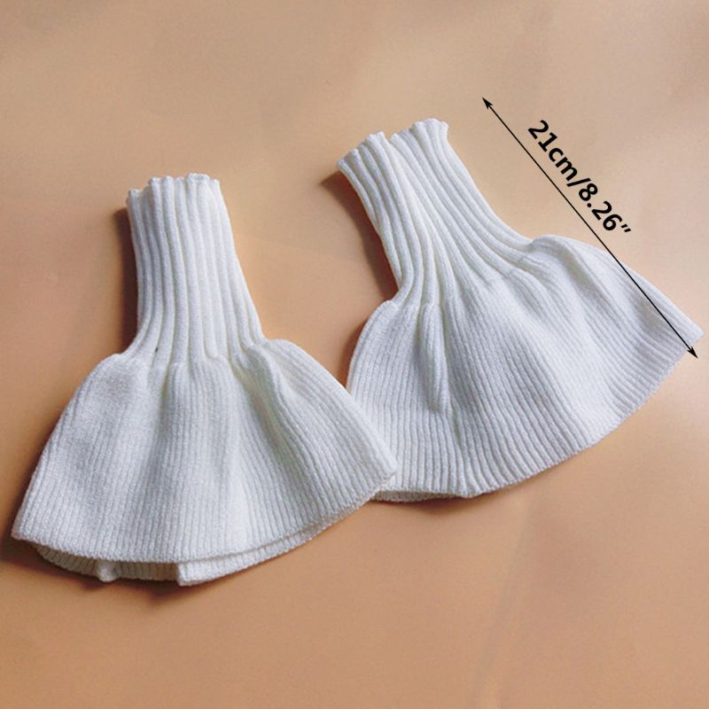 THINKTHENDO 2pcs/pair Knitted Fake Cuff Gloves Women Girls Korean Style Big Wave Wrist Decor