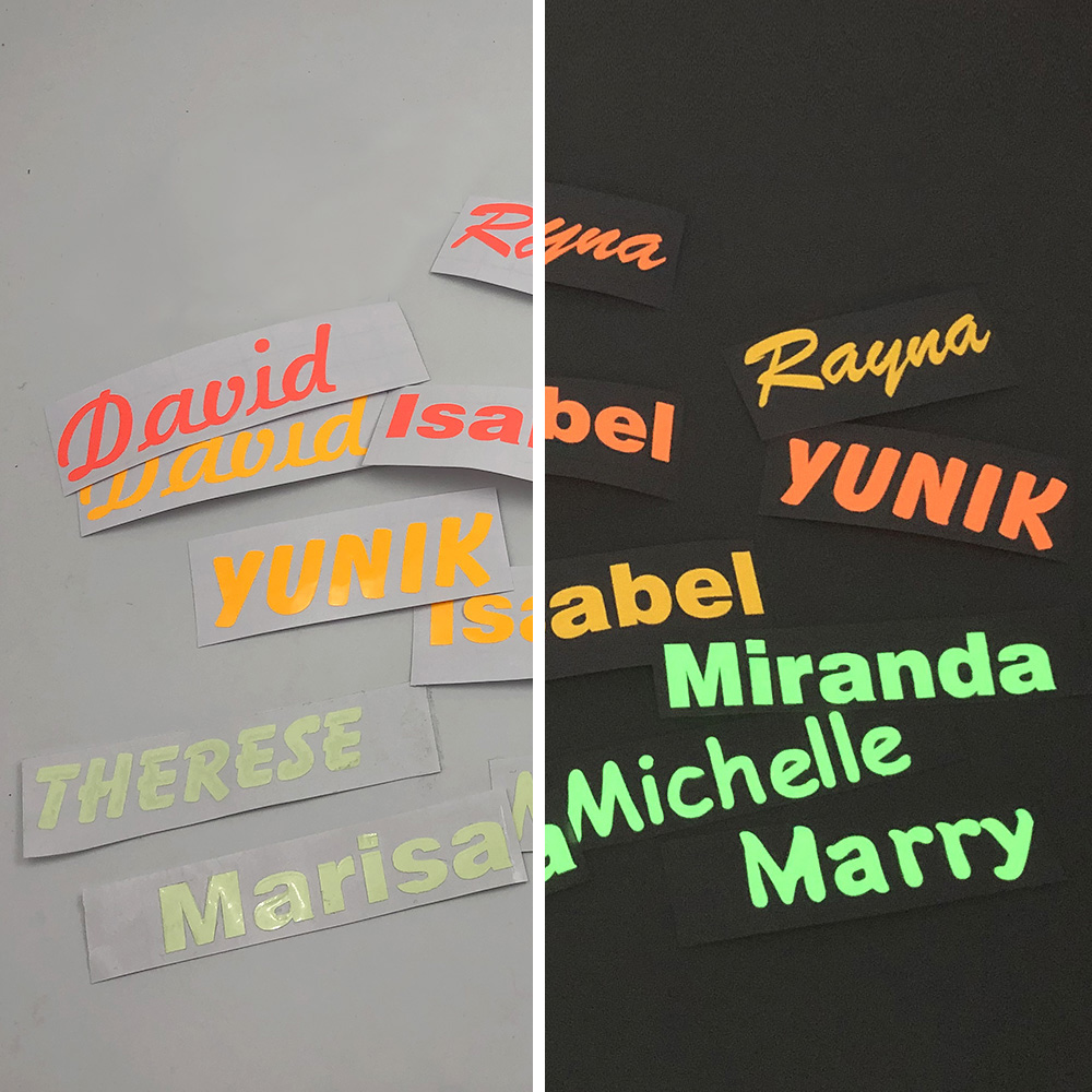 1X Luminous Stickers Custom Name Label Personalised Tags Glow In The Dark For Water Bottle Lanch Box Laptop Cellphone Home Decor