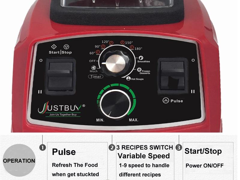 Timer BPA Free 3HP 2200W Commercial Blender Mixer Juicer Power Food Processor Smoothie Bar Fruit Electric Timer BPA Free 3HP 2200W Commercial Blender Mixer Juicer Power Food Processor Smoothie Bar Fruit Electric Blender