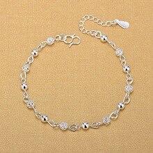 Ножные браслеты из серебра 925 пробы, модные ювелирные изделия из серебра, анклеты с полыми бусинами для женщин, девушек, подруг, ног без ног, ю...