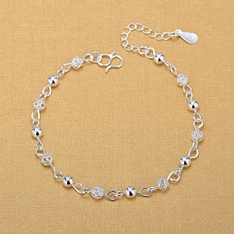 Silver Anklets 925 Fashion Silver Jewelry Hollow Beads Anklet For Women Girls Friend Foot Barefoot Leg Jewelry