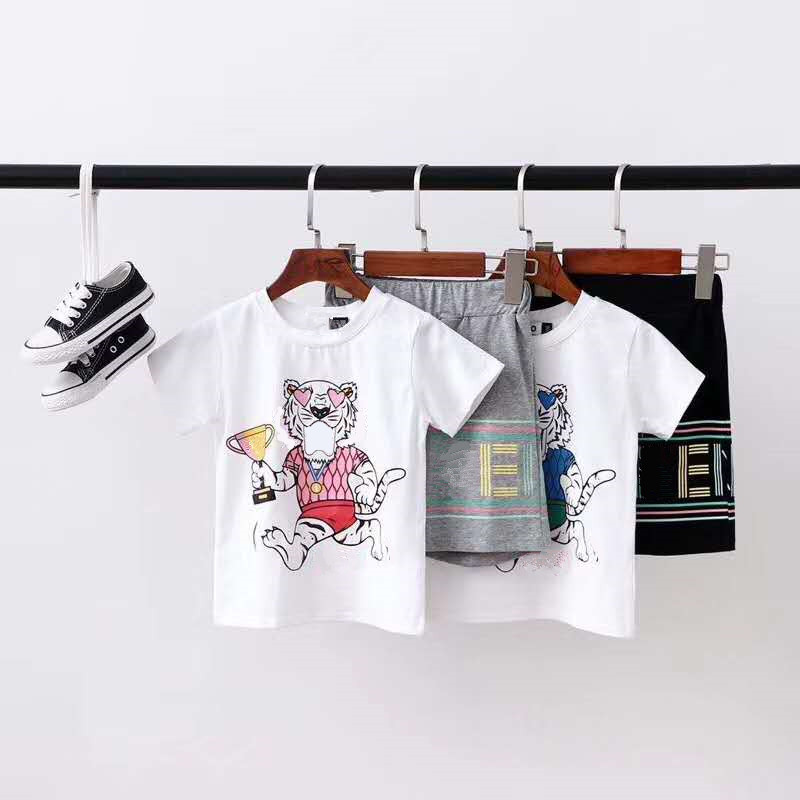 Boys And Girls Fashion Cotton Cartoon Printing Suit Kids Summer High-quality Set