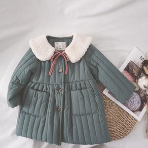 Image 2 - 2019 fashion new girl baby winter coat girls kids fur collar cotton padded warm princess coats children clothes jackets