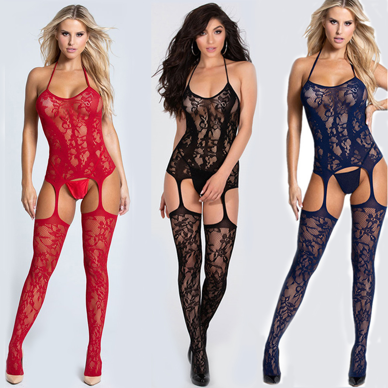 Sexy Body Suits Fetish Bodystocking Women Erotic Lingerie Porno Babydoll Crotchless Body Suit Underwear Costumes Latex Catsuit 1