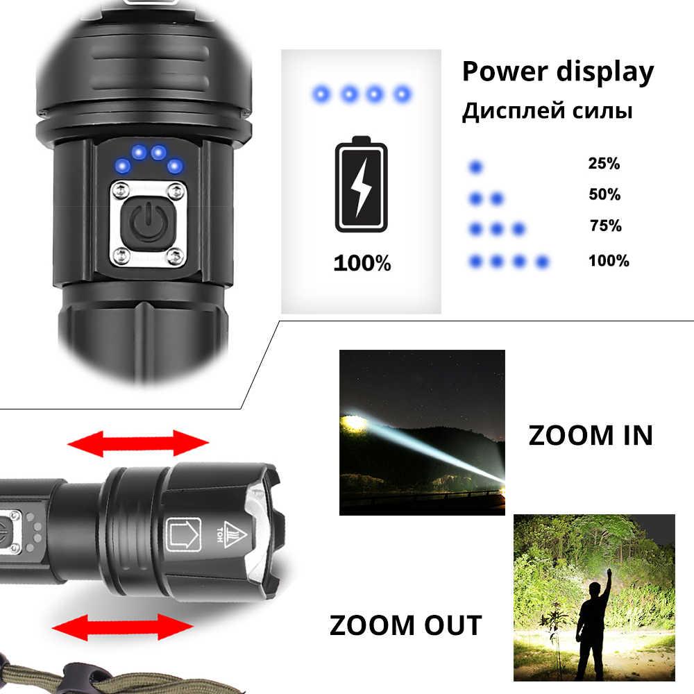 Супер яркий XHP70.2 светодиодный фонарик с дисплеем батареи Водонепроницаемый Военный светодиодный фонарь телескопический зум используется для приключений, охоты