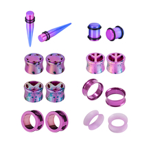 6/12/16pcs/set Acrylic Stainless Purple Spiked Auricle Ear Expander Ear Enlargement Fashion Earpin For Body Piercing Jewelry 2pcs set acrylic piercing jewelry women ear stud awl ear expansion device auricle random color