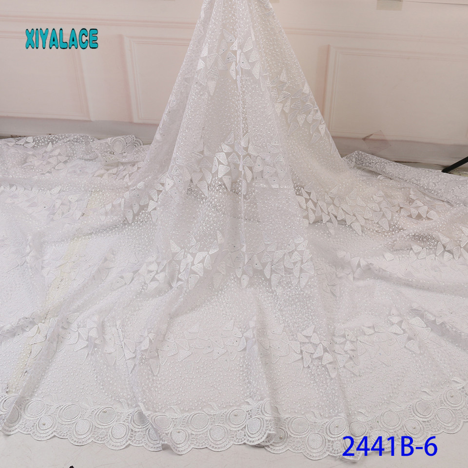 Luxury Pure White Black African Mesh Lace Fabrics 2019 High Quality Nigerian French Tulle Lace With Net Lace Fabric YA2441B-6