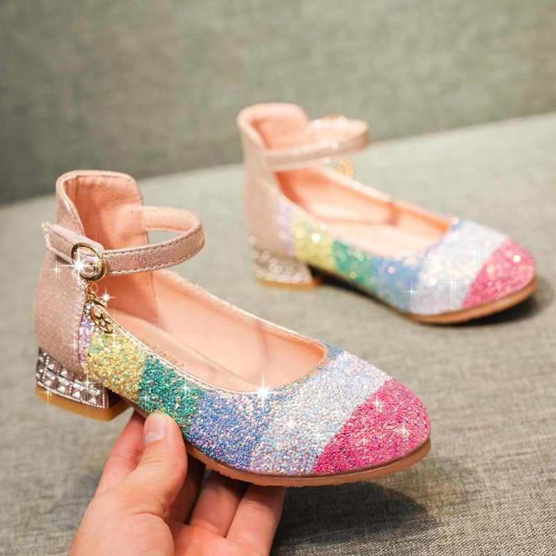 Crianças arcos sapatos crianças saltos 2020 novo cristal redondo grande virgem princesa fundo macio sapatos de dança para meninas