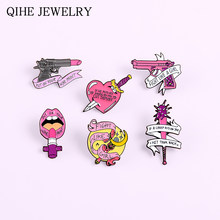 Fight Like A Girl ! Female Power Pins Pink Gun Gun Wand Stick Heart Sword Lips Lipstick Badges Feminist Enamel Pins Brooches(China)