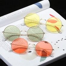 купить 2019 Retro Round Pink Women Sunglasses  Brand Designer Sun Glasses for Women Alloy Mirror Female Eyeglasses Oculos De Sol дешево