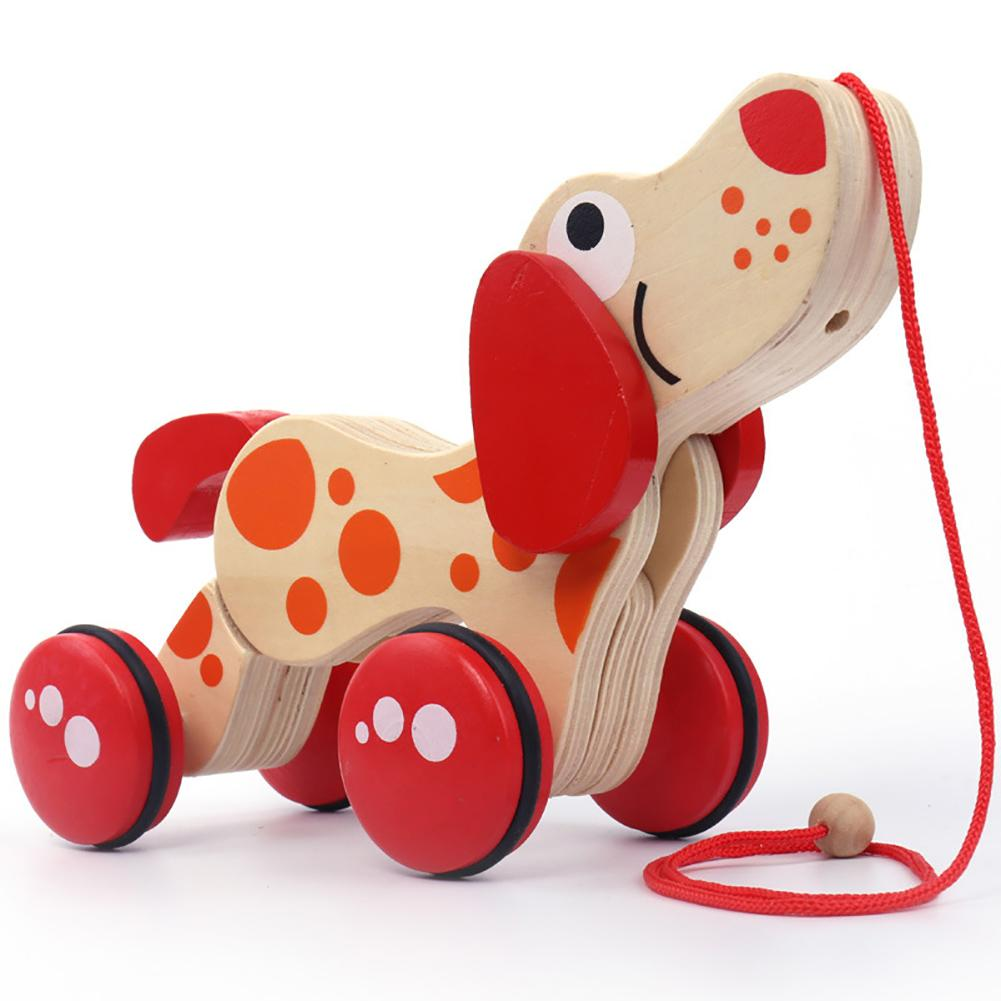 Lovely Safe Wood Material Wooden Animal Pull Rope Cartoon Dog Puppy Drag Car Baby Children Toy Gift New