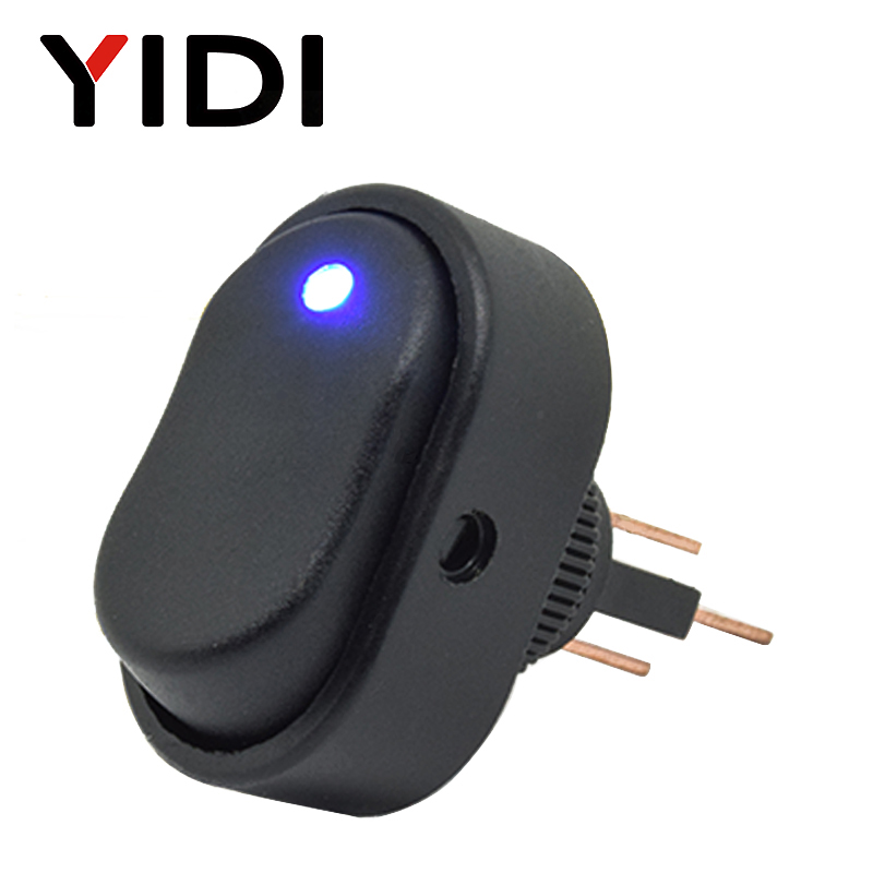ASW-20D 30A 12VDC Car Boat Auto Rocker Switch On Off With Dot LED Light Illuminated Red Green Blue Yellow Rocker Switch